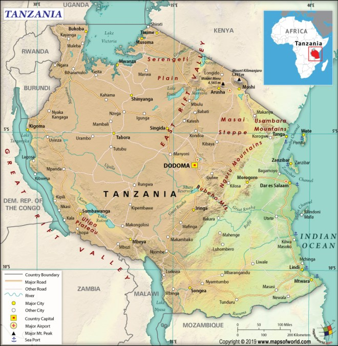 Map of United Republic of Tanzania