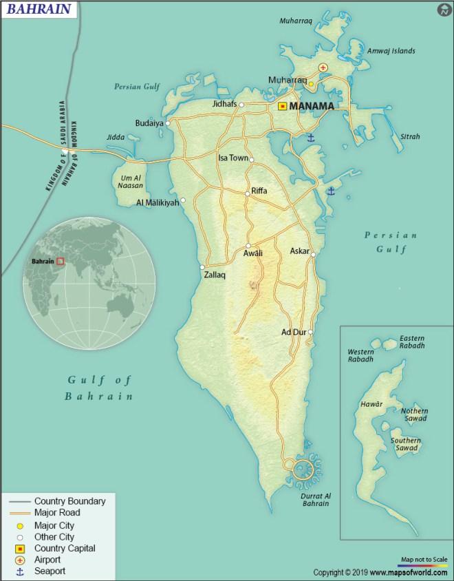 Map of Kingdom of Bahrain