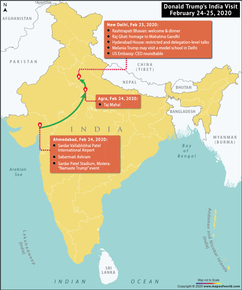 Map of India Highlighting Itinerary of Donald Trump's Two Days Visit to India