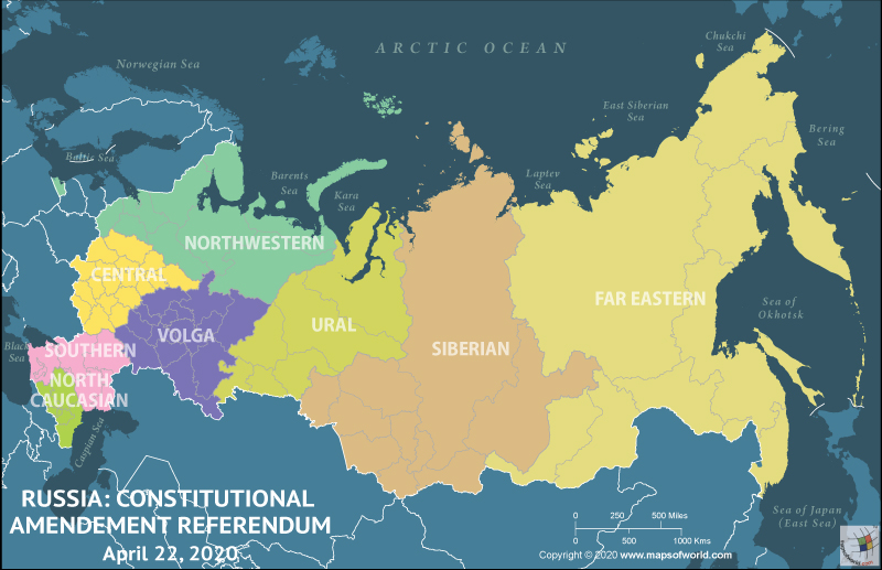Map of Russia Highlighting Constitutional Amendment Referendum