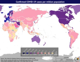 Map Highlighting the Spread of Coronavirus Around the World as per Apr 05, 2020