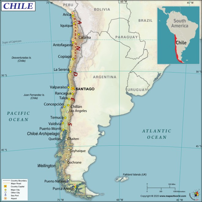 Map of Republic of Chile