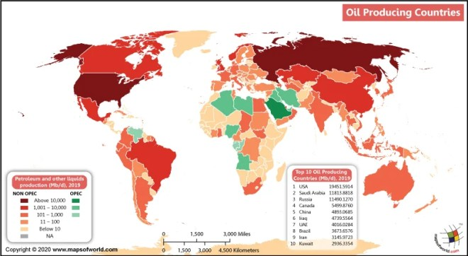 Map of World Showing Oil Producing Countries