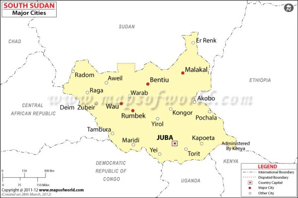 South Sudan Cities Map Major Cities in South Sudan
