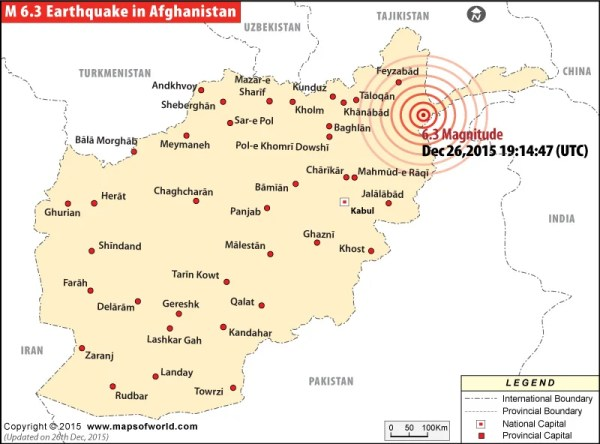 Earthquakes in Afghanistan Areas affected by Earthquakes