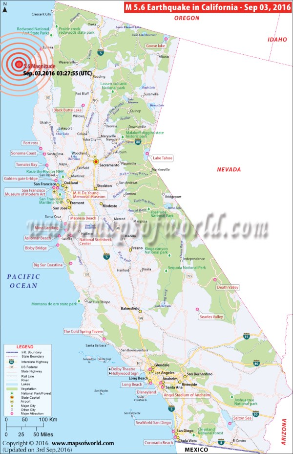 California Earthquake Map Area affected by Earthquake in