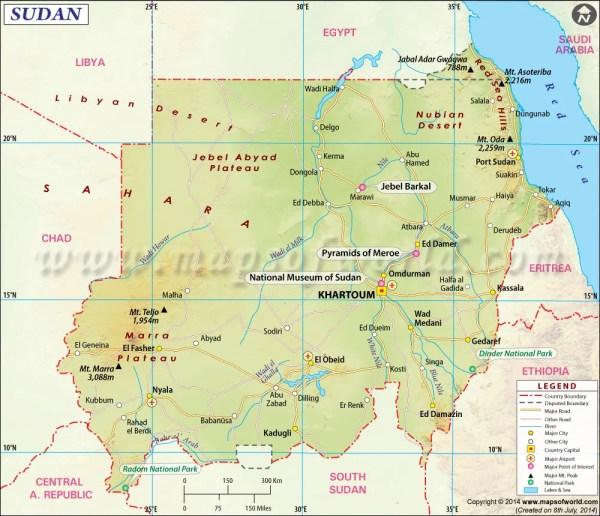 Mapa de Sudán Mapa de Sudán