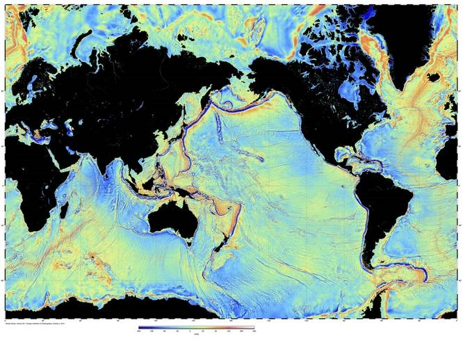 Global map of the variations in the pull of gravity derived from satellite radar altimetry. http://topex.ucsd.edu/grav_outreach