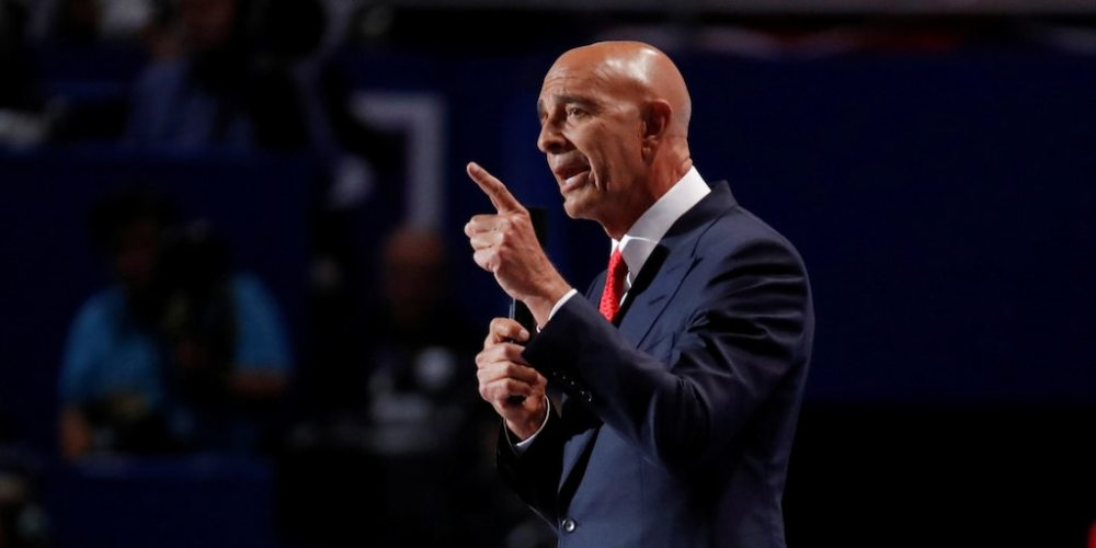 FILE PHOTO: Tom Barrack, CEO of Colony Capital, speaks at the Republican National Convention in Cleveland, Ohio, U.S. July 21, 2016. REUTERS/Jim Young/File Photo