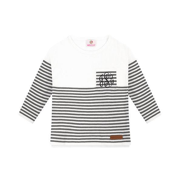 Monogrammed Kids Striped Sweater Tunic