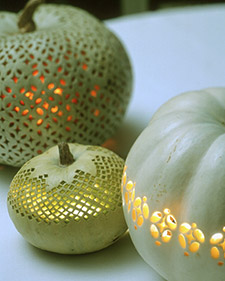 Lace-patterned Halloween pumpkin by Martha Stewart