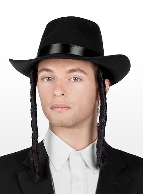 Rabbi Hut mit Schlfenlocken  Gelehrten Hut  maskworldcom