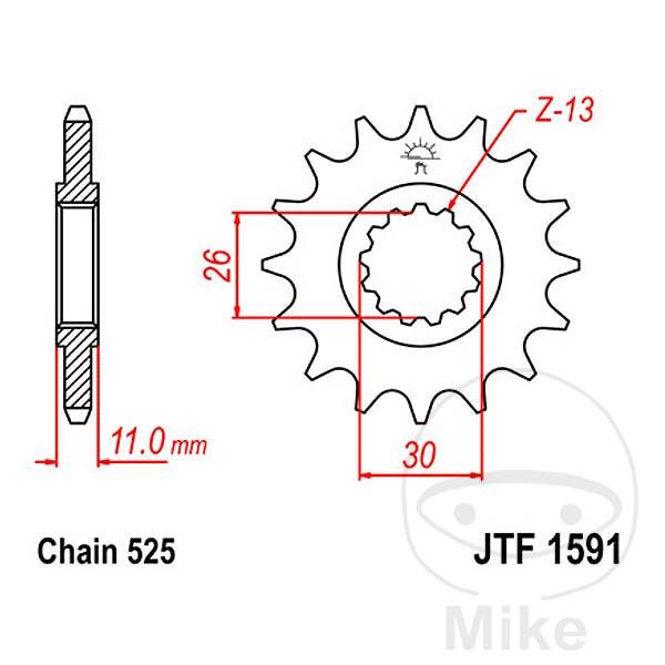 JT Front Sprocket 16T 525 Pitch JTF1591.16 Yamaha FZ8 800