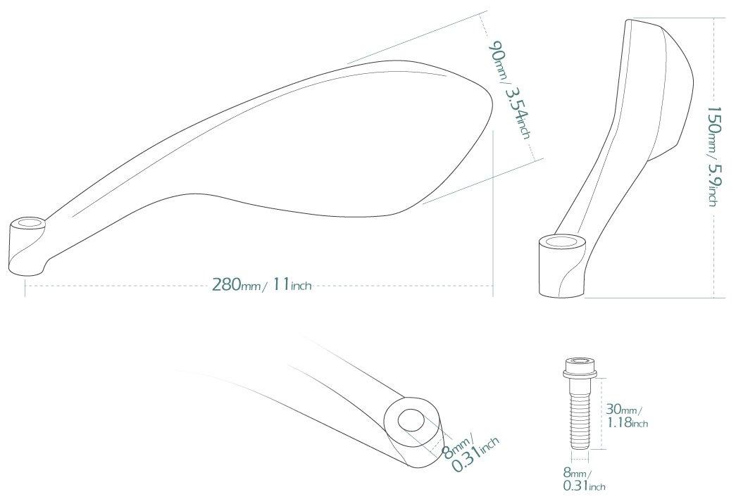 Kiwav Oem Replacement Mirror Fd-264-2 for Ducati Monster