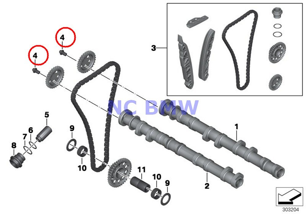 6 X Bmw Genuine Motorcycle Camshaft Gear Timing Chain Asa