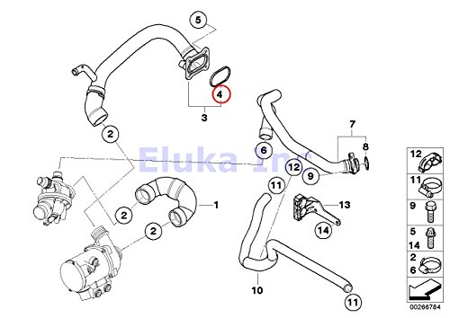 Bmw Coolant Water Hose Gasket for Pump to Engine Inlet
