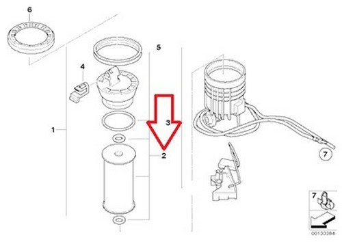 Bmw Oem Fuel Filter Kit with O-rings In-tank Right R50 R52