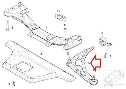 Bmw Oem Front Left Axle Support Wishbone Control Arm E46
