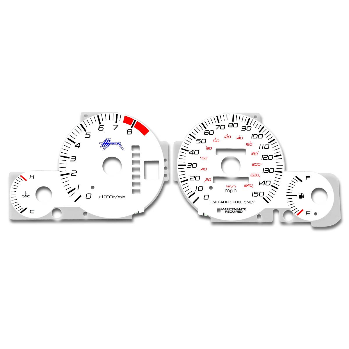 For Honda Prelude Indiglo Reverse Glow Gauge Bb6 At H22a4