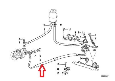 Bmw Genuine Power Steering Hose Rack to Pump for 320i 5i