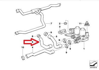 Bmw Genuine Heater Hose Water Valve to Core for 318i 318is