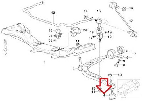 Bmw Oem Ball Joint for Front Axle Control Arm E36 Z3 31 12