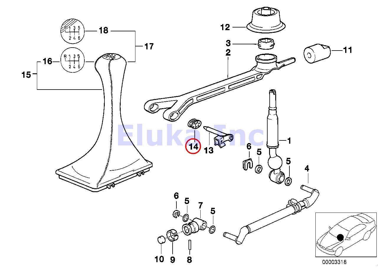 2 X Bmw Bushing Manual Shift Lever Support Arm To