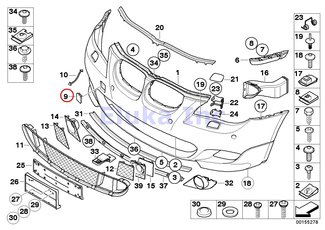 Bmw Genuine Front M Trim Tow Hook Cover Primered Fronta