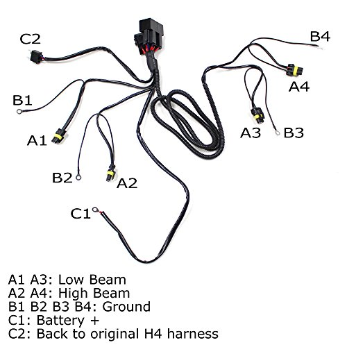 Ijdmtoy Headlight High Low Conversion Relay Wire Harness