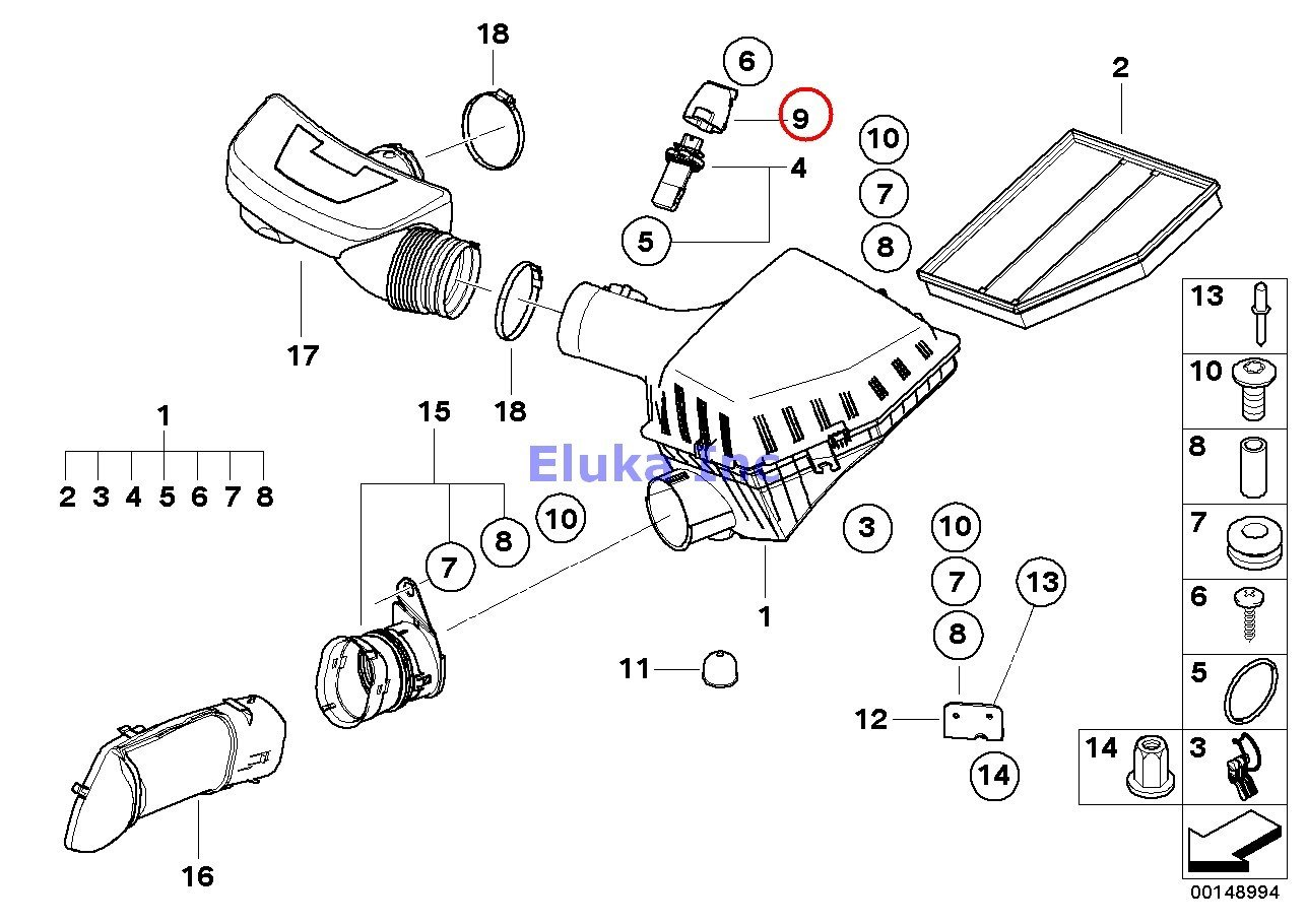 Bmw Genuine Fuel System Intake Muffler Cover 550i 650i
