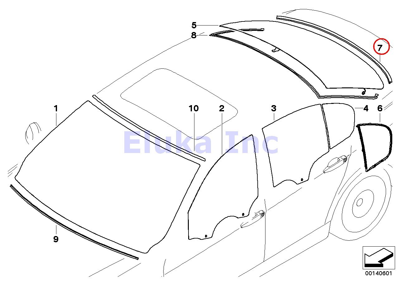 Bmw Genuine Glazing Windshield Moulding Rear Lowera 323i