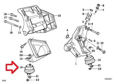 Bmw Genuine Engine Suspension Damper Rubber Mount Right