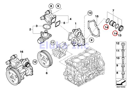 Bmw Genuine Coolant Water Hose O-ring for Pump to Engine