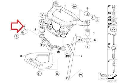 BMW Genuine REAR AXLE CARRIER RUBBER MOUNTING Subframe