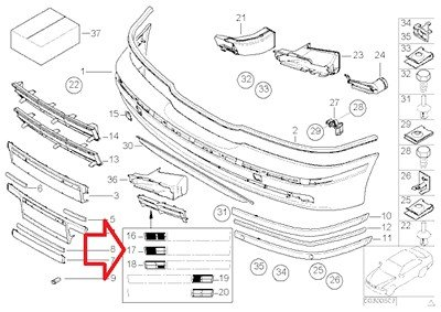 BMW Genuine BUMPER MOUNTING FLAP COVER GRILLE FRONT RIGHT