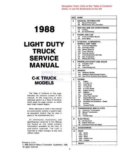 1988 Chevy GMC C/K 10-30 Light Truck Shop Service Repair