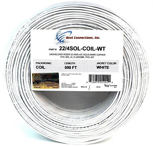 50 Ft 22 Gauge 4 Conductor Solid Security Alarm Wire Cable