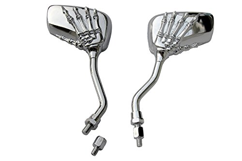 CHROME SKULL HAND SKELLINGTON REARVIEW MOTORCYCLE MIRRORS