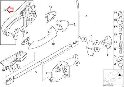 Bmw Genuine Outside Door Handle Carrier Rear Left for X5 3