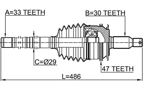 FEBEST 0414-KB4A47L Left Outer CV Joint