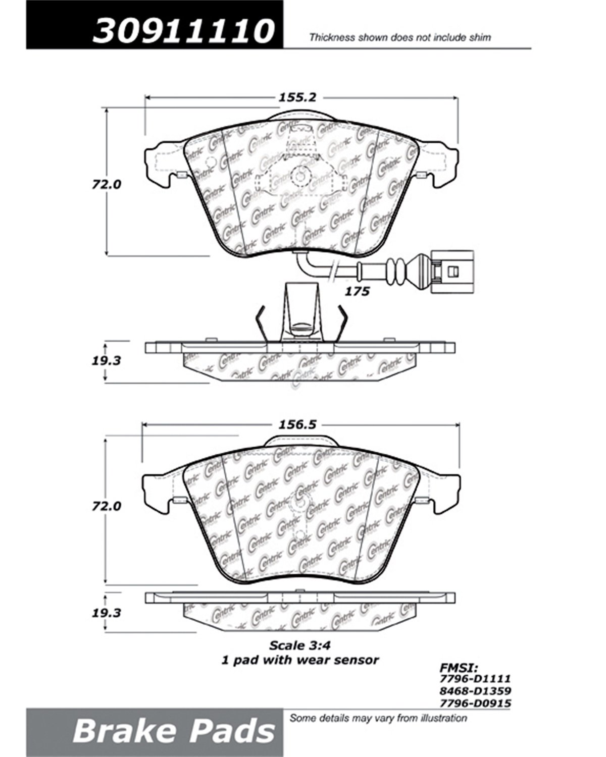 StopTech 309.11110 Street Performance Front Brake Pad