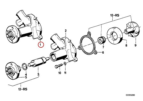 BMW 6cyl (88-93) OEM Coolant Pump w/ Gasket COMPOSITE