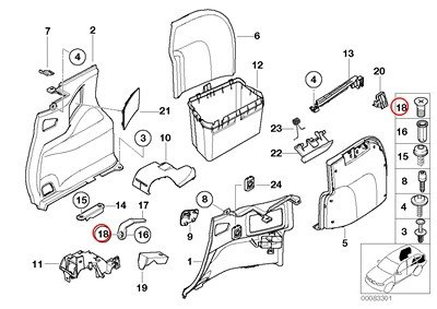 BMW Genuine Lateral Trunk Floor Trim Panel Countersunk
