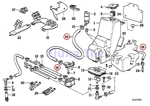 BMW Genuine Head Lamp Headlight Washer Hose (10 Mm) 840Ci