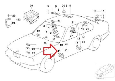 BMW Genuine Interior Door Light Lens Left for 735i 735iL