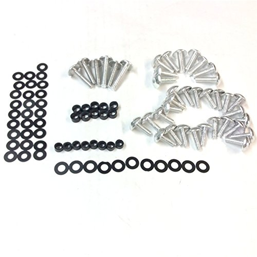 XKMT GROUP Motorbike Silver Round Fairing Bolts Kit for