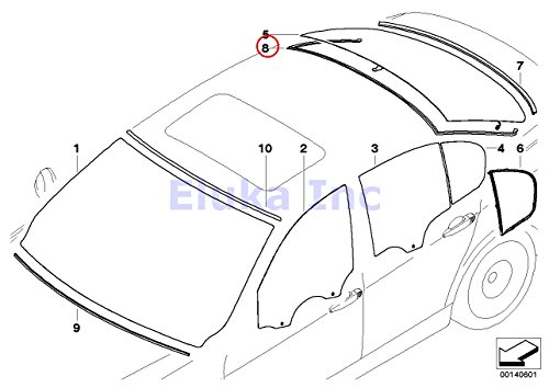BMW Genuine Glazing Windshield Moulding Rear Upper 323i