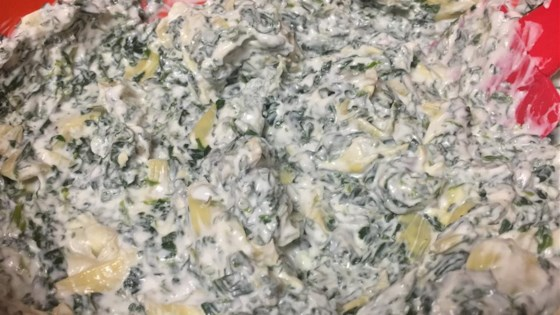 spinach and artichoke greek yogurt dip recipe allrecipes com