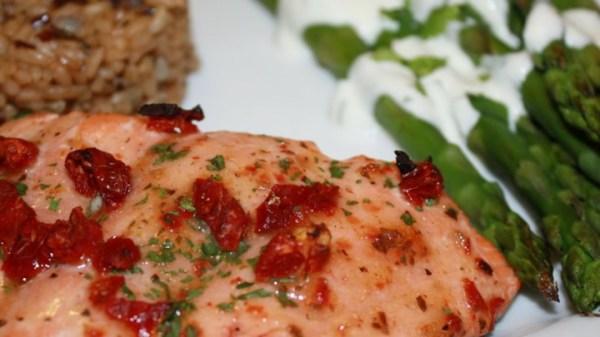 SunDried Tomato Cedar Plank Salmon Recipe Allrecipescom