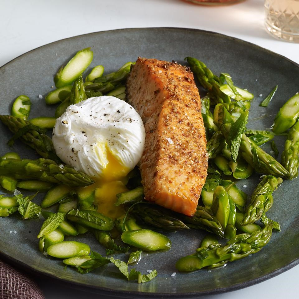 Coriander & Lemon Crusted Salmon with Asparagus Salad and Poached Egg